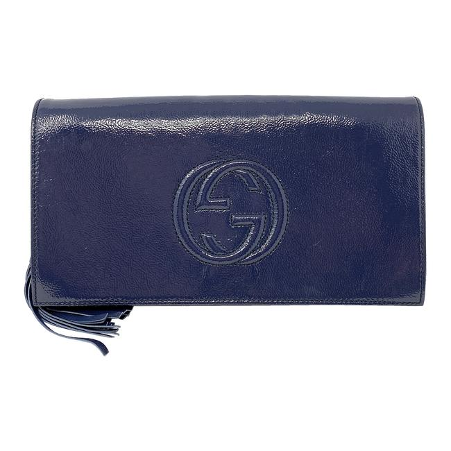 Item - Soho Tassel Couch Blue Patent Leather Clutch