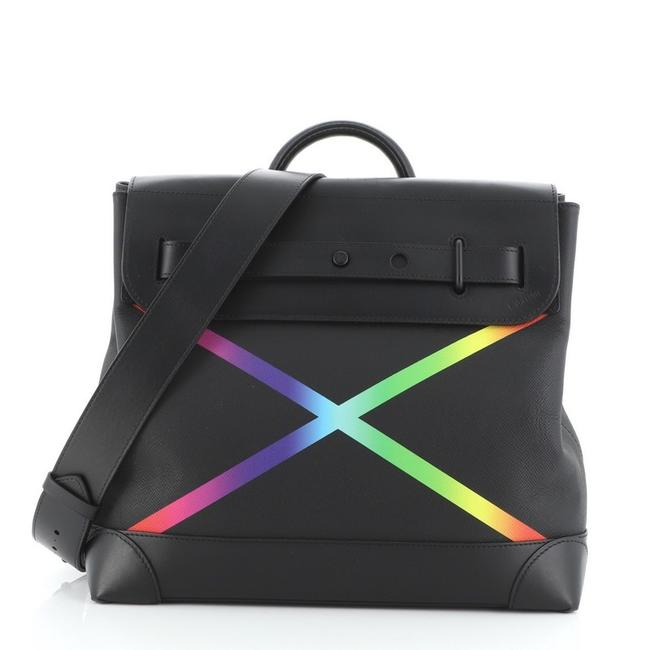 Item - Steamer Rainbow Taiga Pm Black Leather Cross Body Bag