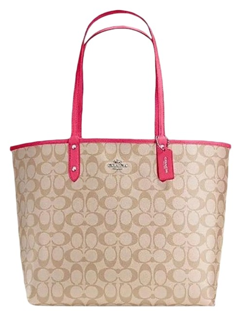 Item - City F36658 Reversible In Signature Coated Canvas Brown/ Pink Leather Tote