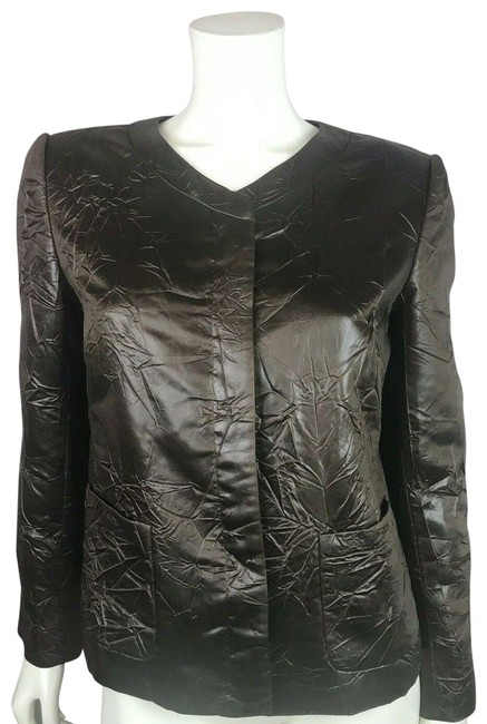 Item - Brown Faux Leather Crinkle Textured Jacket Blazer Size 8 (M)