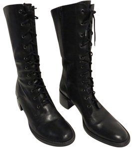 Pazzo Leather Upper Lace Up Black Boots
