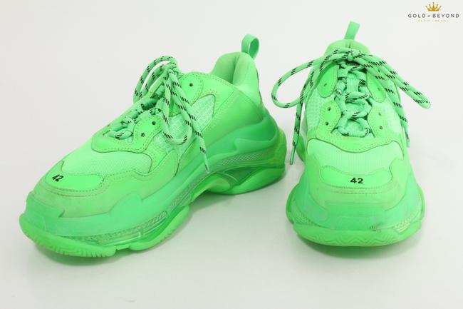 Item - Neon Green Triple S Clear Sole Shoes
