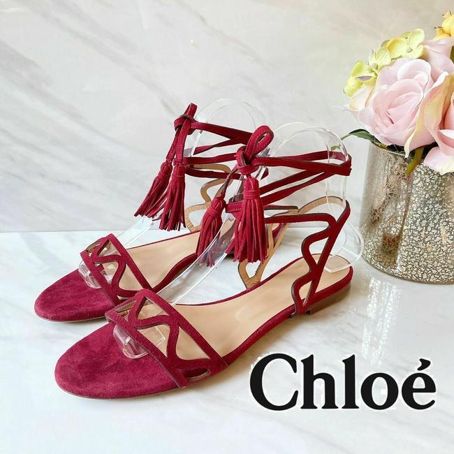 Item - Red Ghillie Ankle Tie Lace Fringe Cutout Flat Strap Suede Sandals Size US 7.5 Regular (M, B)