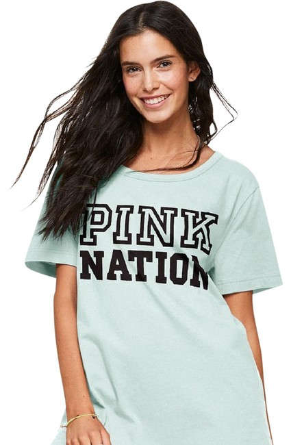 Item - Light Blue New Vs Pink Nation Campus Strappy Back Large Tee Shirt Size 12 (L)
