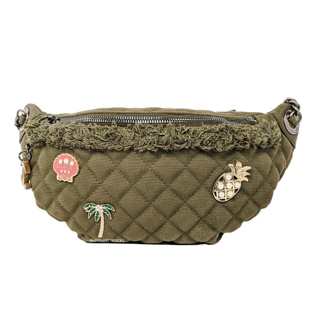 Item - Waist Cruise Collection Coco Charms Fanny Pack Banane Khaki / Olive Green Quilted Canvas & Lambskin Cross Body Bag