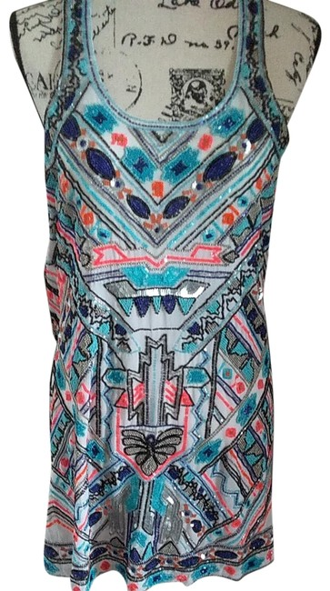 Item - White Multi-color Pa5061893mko Short Night Out Dress Size 4 (S)