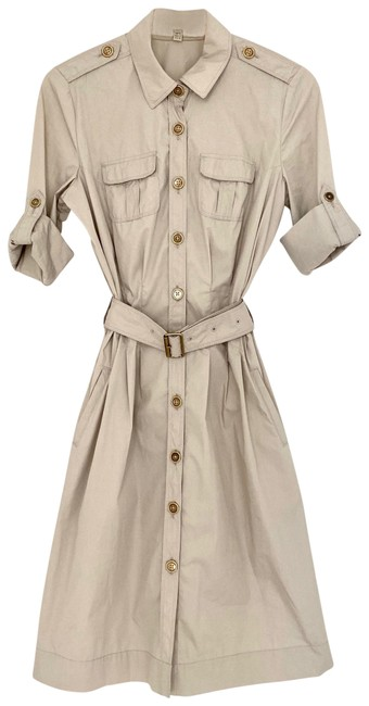 Item - Beige Classic Stretch Cotton Belted Trench / Shirtdress Mid-length Short Casual Dress Size 6 (S)