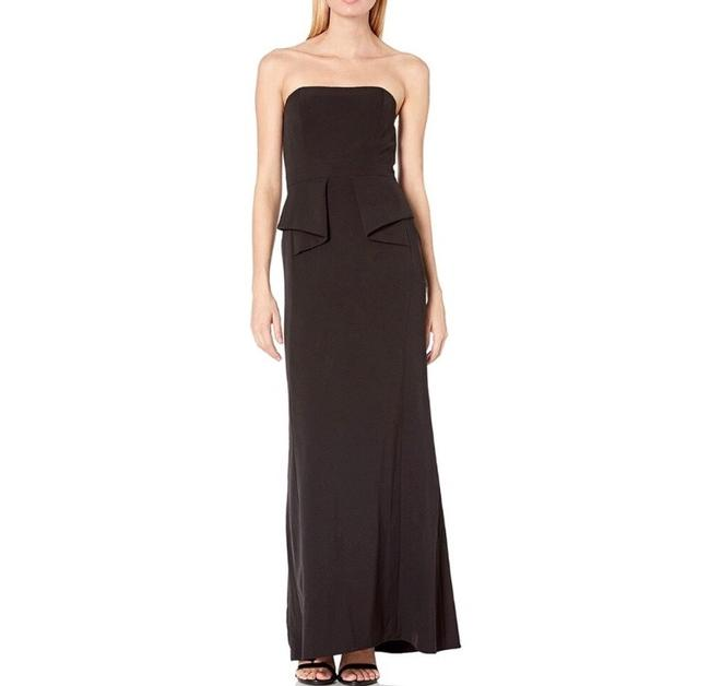 Item - Black Strapless Crepe Peplum Column Gown Pageant Long Formal Dress Size 4 (S)