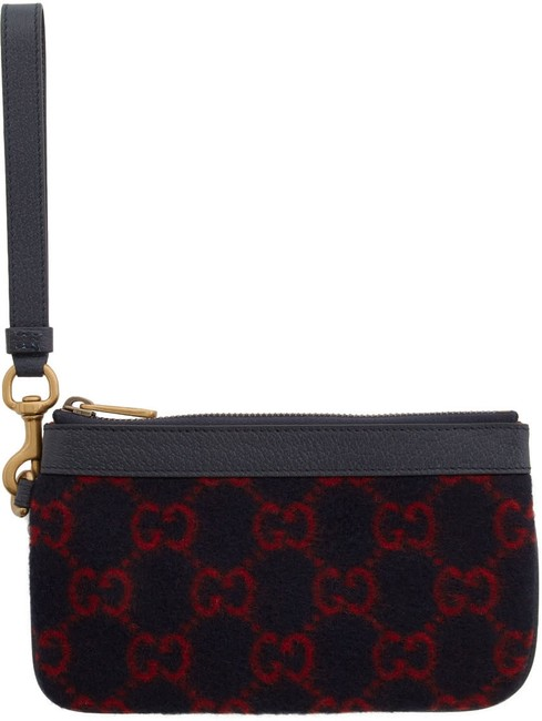 Item - Pouch Wallet Blue and Red Gg Supreme Wool Wristlet