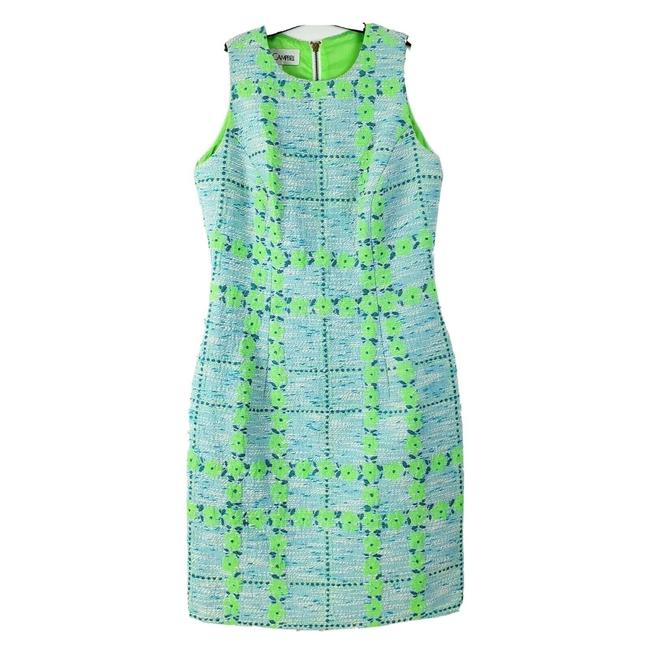 Item - Blue Green Floral Mid-length Cocktail Dress Size 6 (S)