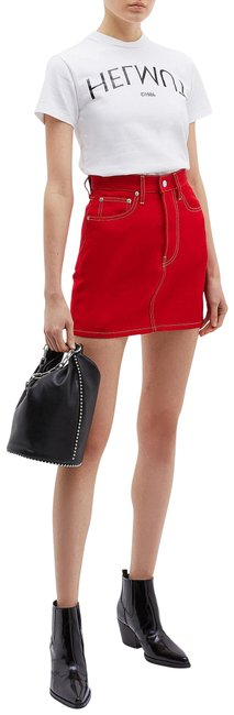 Helmut Lang Red Denim Skirt Size 4 (S, 27) Helmut Lang Red Denim Skirt Size 4 (S, 27) Image 1