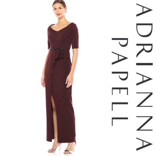 Item - Burgundy Jeweled Front Belt Crepe Gown*nwt Long Cocktail Dress Size 4 (S)