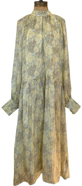 Item - Yellow Pre-owned Metallic Thread Printed Long Casual Maxi Dress Size 10 (M)