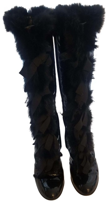 Item - Black Patent Leather with Faux Fur and Gross Grain Ribbon Boots/Booties Size EU 41 (Approx. US 11) Regular (M, B)