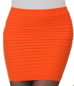 Lotus Color Seamless Bodycon Fitted Mini Mini Skirt Orange