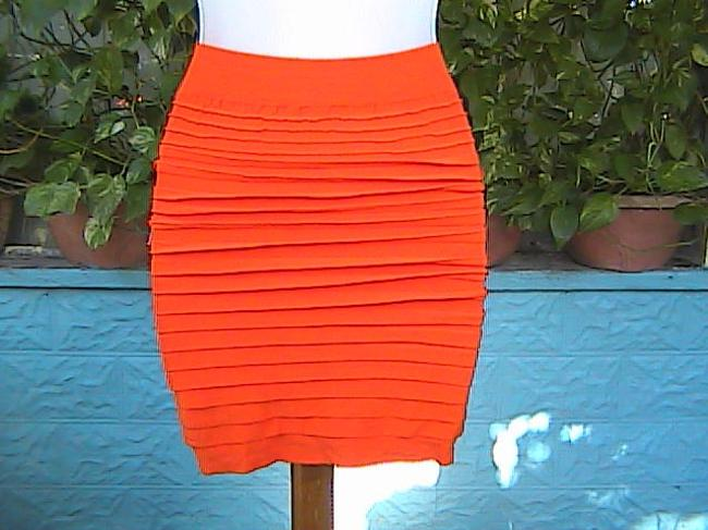 Lotus Color Seamless Bodycon Fitted Mini Skirt Orange