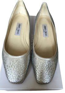 Jimmy Choo Leather Sparkle Flat Silver Flats
