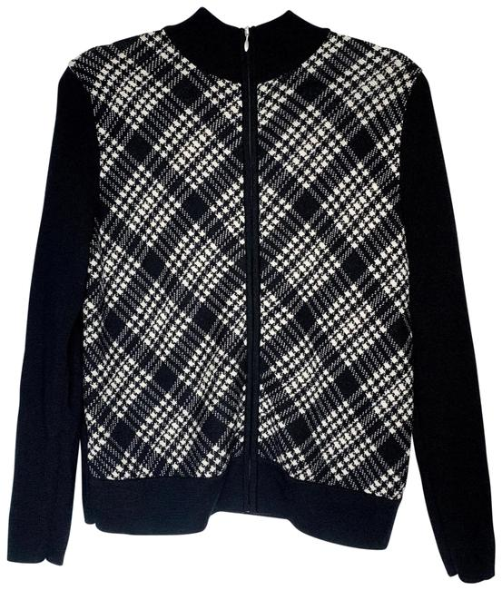 Item - Full Zip White Black Sweater