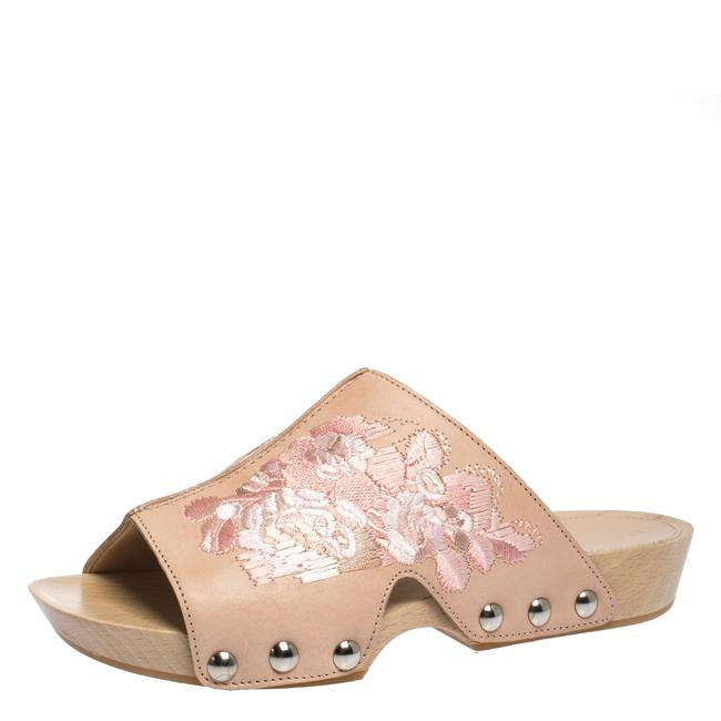 Item - Pink Peach Leather Embroidered Wooden Clogs Sandals Size US 5.5 Regular (M, B)