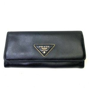 Prada Prada Milano Black Leather Flap Over Dual Snap Bifold Wallet Gold Logo