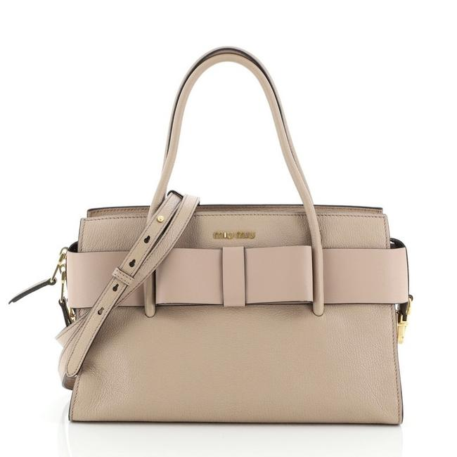 Miu Miu Madras Fiocco Bow Tote Leather Medium Shoulder Bag Miu Miu Madras Fiocco Bow Tote Leather Medium Shoulder Bag Image 1