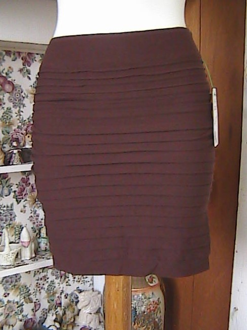 Lotus Color Seamless Fitted Stretch Bodycon Mini Skirt Coffee