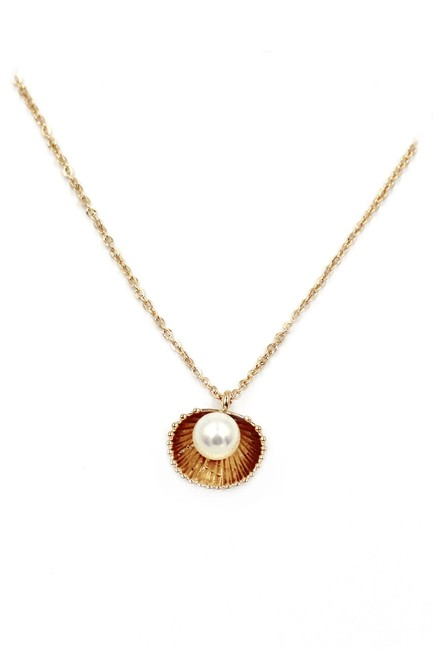 Ocean Fashion Gold 925 Shell Pearl Pendant Necklace Ocean Fashion Gold 925 Shell Pearl Pendant Necklace Image 1