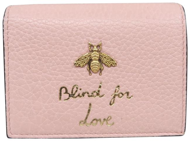 Gucci Pink Animalier Calfskin Card Case Wallet Gucci Pink Animalier Calfskin Card Case Wallet Image 1