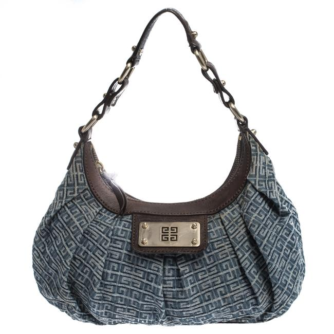 Givenchy Blue/Brown Monogram Small Blue Denim and Leather Hobo Bag Givenchy Blue/Brown Monogram Small Blue Denim and Leather Hobo Bag Image 1