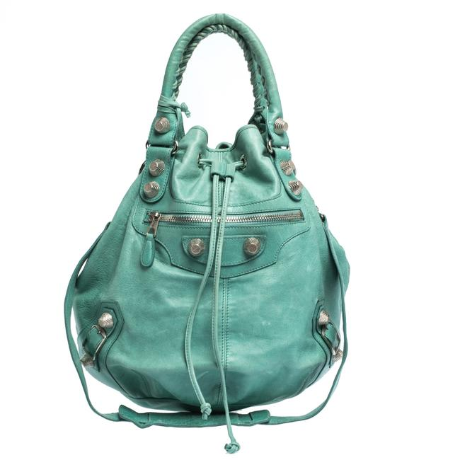 Balenciaga Papete Sgh 21 Pompon Green Leather Hobo Bag Balenciaga Papete Sgh 21 Pompon Green Leather Hobo Bag Image 1