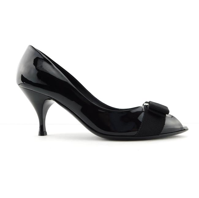 Salvatore Ferragamo Black Patent Leather Vara Logo Bow Logo Open Toe Heel Pumps Size US 7 Regular (M, B) Salvatore Ferragamo Black Patent Leather Vara Logo Bow Logo Open Toe Heel Pumps Size US 7 Regular (M, B) Image 1
