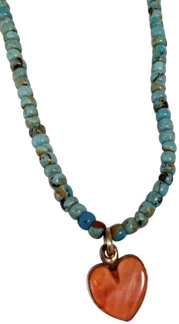 Turquoise With Coral Heart Necklace Turquoise With Coral Heart Necklace Image 1