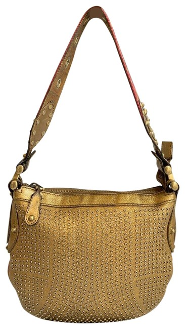 Gucci Pelham Metallic Studded Gold Leather Shoulder Bag Gucci Pelham Metallic Studded Gold Leather Shoulder Bag Image 1
