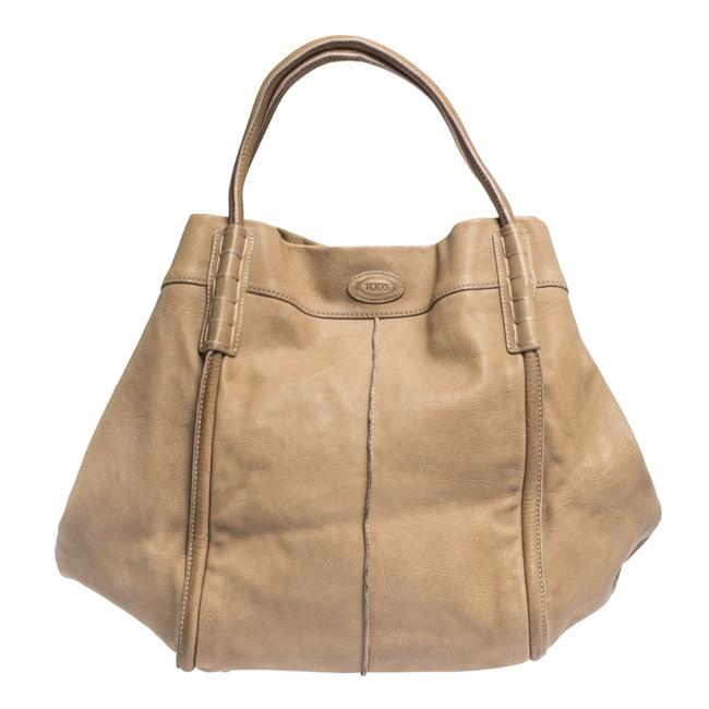 Tod's Shade Beige Leather Tote Tod's Shade Beige Leather Tote Image 1