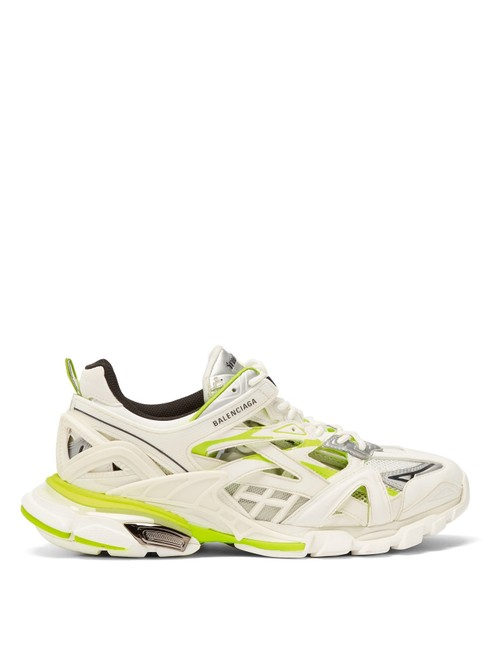 Balenciaga White/Yellow Mf Track 2 Leather and Mesh Trainers Sneakers Size EU 42 (Approx. US 12) Regular (M, B) Balenciaga White/Yellow Mf Track 2 Leather and Mesh Trainers Sneakers Size EU 42 (Approx. US 12) Regular (M, B) Image 1