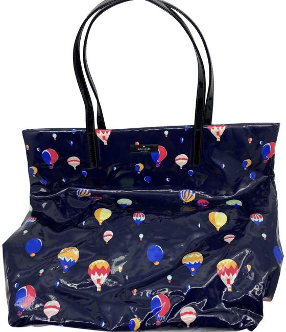 Kate Spade Shopping Tote Large Laminated Navy Blue Leather Shoulder Bag Kate Spade Shopping Tote Large Laminated Navy Blue Leather Shoulder Bag Image 1