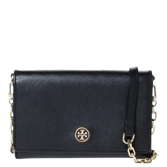 Tory Burch Robinson Chain Black Leather Clutch Tory Burch Robinson Chain Black Leather Clutch Image 1