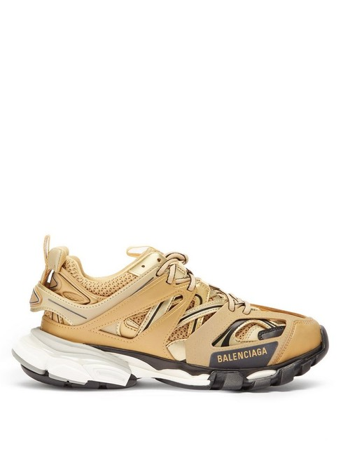 Balenciaga Gold Mf Track Leather and Mesh Trainers Sneakers Size EU 42 (Approx. US 12) Regular (M, B) Balenciaga Gold Mf Track Leather and Mesh Trainers Sneakers Size EU 42 (Approx. US 12) Regular (M, B) Image 1