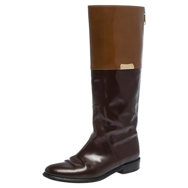 Burberry Brown Two Tone Leather Logo Embellished Knee High Boots/Booties Size US 6.5 Regular (M, B) Burberry Brown Two Tone Leather Logo Embellished Knee High Boots/Booties Size US 6.5 Regular (M, B) Image 1