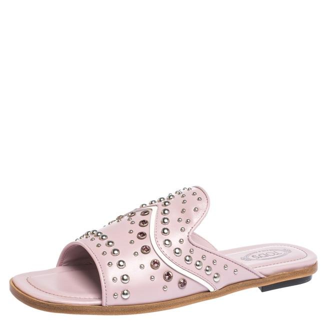 Tod's Pink Studded Leather Slides 37.5 Flats Size US 7 Regular (M, B) Tod's Pink Studded Leather Slides 37.5 Flats Size US 7 Regular (M, B) Image 1