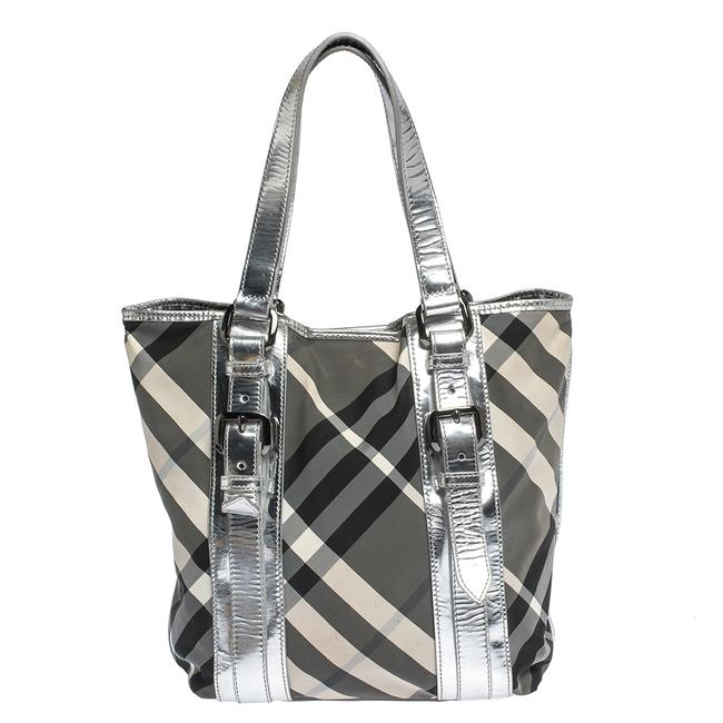 Burberry Silver/Beat Check Victoria Silver Nylon and Patent Leather Tote Burberry Silver/Beat Check Victoria Silver Nylon and Patent Leather Tote Image 1