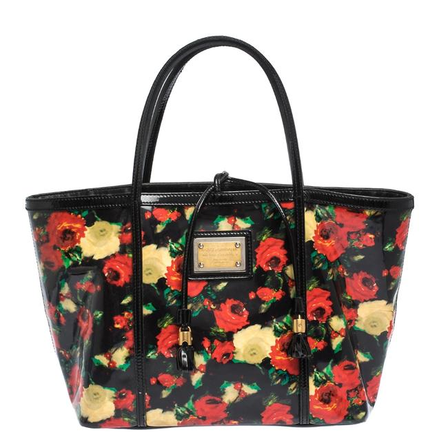 Dolce&Gabbana Floral Print Miss Escape Multicolor Vinyl and Patent Leather Tote Dolce&Gabbana Floral Print Miss Escape Multicolor Vinyl and Patent Leather Tote Image 1