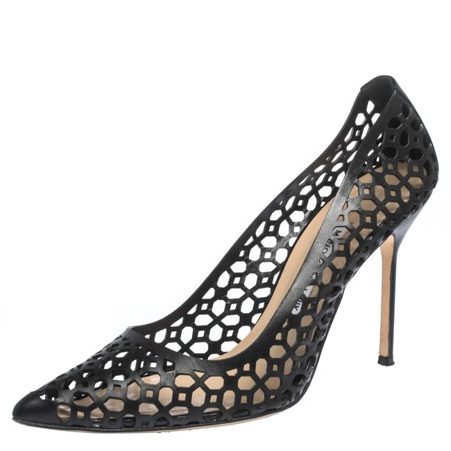Manolo Blahnik Black Laser Cut Leather Pointed 39.5 Pumps Size US 9 Regular (M, B) Manolo Blahnik Black Laser Cut Leather Pointed 39.5 Pumps Size US 9 Regular (M, B) Image 1