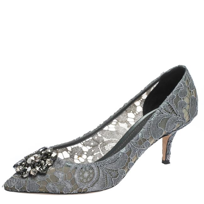 Dolce&Gabbana Grey Crystal Embellished Lace Bellucci Pointed Pumps Size US 8.5 Regular (M, B) Dolce&Gabbana Grey Crystal Embellished Lace Bellucci Pointed Pumps Size US 8.5 Regular (M, B) Image 1