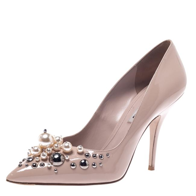 Miu Miu Beige Black Patent Leather Pearl Embellished Pointed Pumps Size US 7.5 Regular (M, B) Miu Miu Beige Black Patent Leather Pearl Embellished Pointed Pumps Size US 7.5 Regular (M, B) Image 1