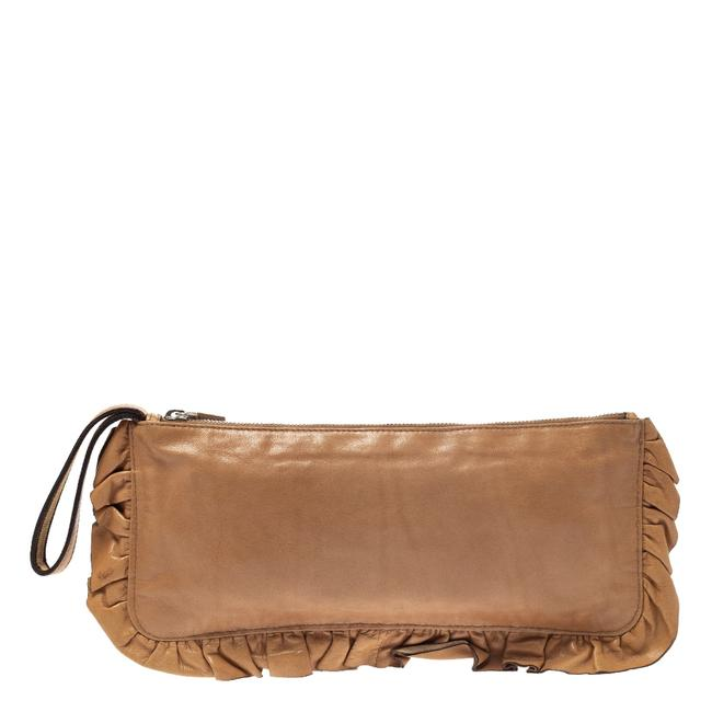 Miu Miu Caramel Ruffle Wristlet Brown Leather Clutch Miu Miu Caramel Ruffle Wristlet Brown Leather Clutch Image 1