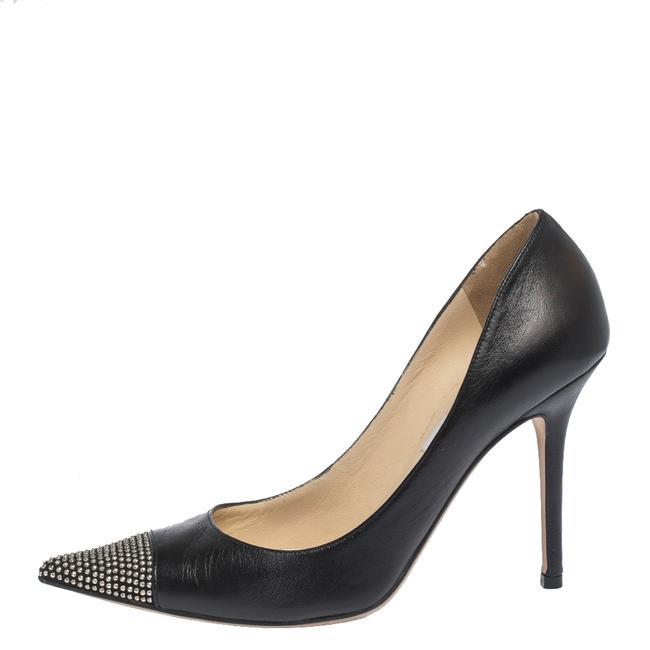 Jimmy Choo Black Leather and Studded Suede Amika Pointed Pumps Size US 8 Regular (M, B) Jimmy Choo Black Leather and Studded Suede Amika Pointed Pumps Size US 8 Regular (M, B) Image 1