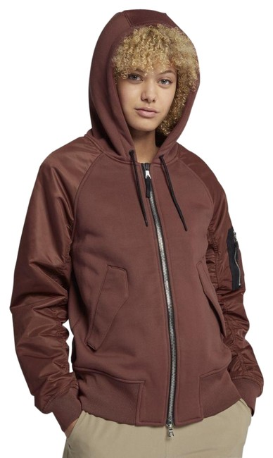 Item - Sepia lab Mixed Media Bomber Jacket Activewear Outerwear Size 12 (L)