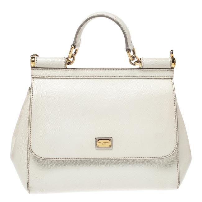 Dolce&Gabbana Top Handle Bag Medium Miss Sicily White Leather Clutch Dolce&Gabbana Top Handle Bag Medium Miss Sicily White Leather Clutch Image 1