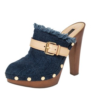 Louis Vuitton Studded Denim Platform Blue Sandals